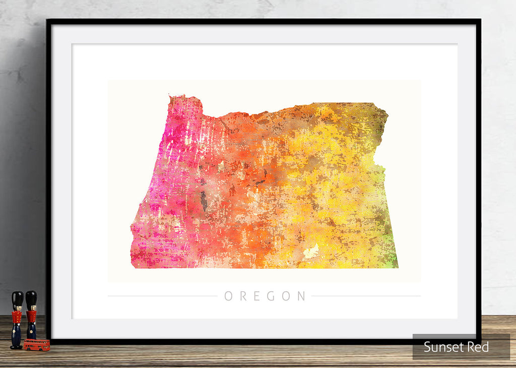 Oregon Map: State Map of Oregon - Sunset Series Art Print