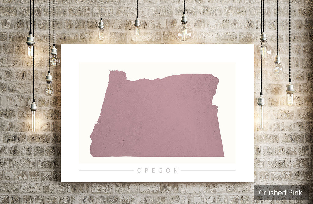 Oregon Map: State Map of Oregon - Colour Series Art Print