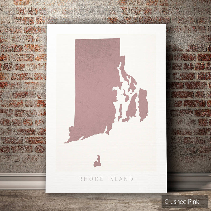 Rhode Island Map: State Map of Rhode Island - Colour Series Art Print