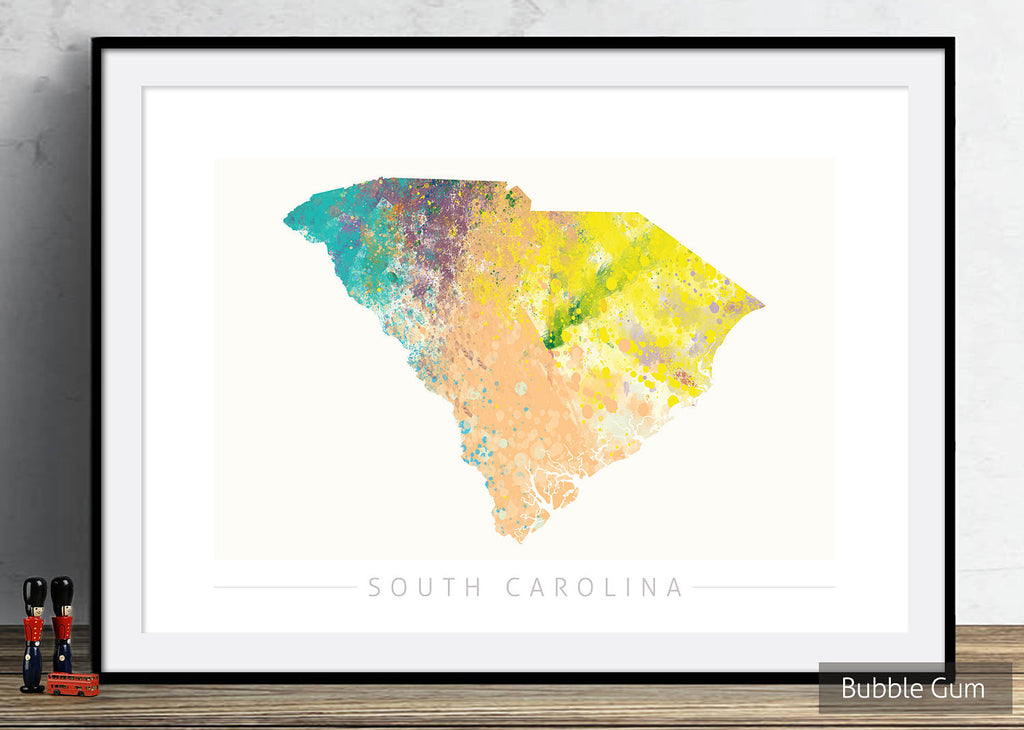 South Carolina Map: State Map of South Carolina - Nature Series Art Print