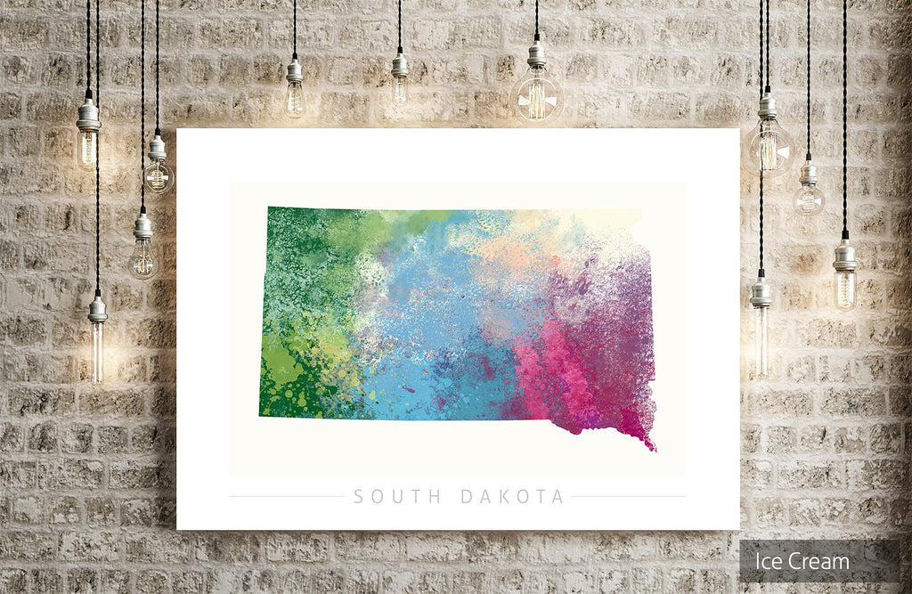 South Dakota Map: State Map of South Dakota - Nature Series Art Print
