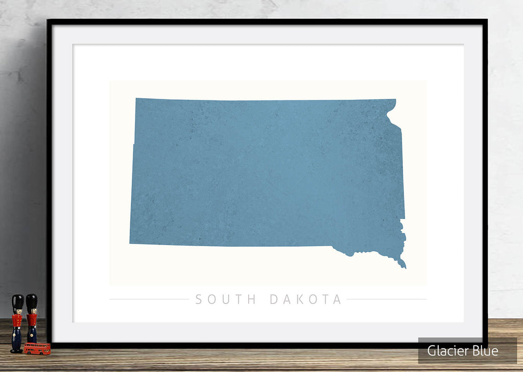 South Dakota Map: State Map of South Dakota - Colour Series Art Print