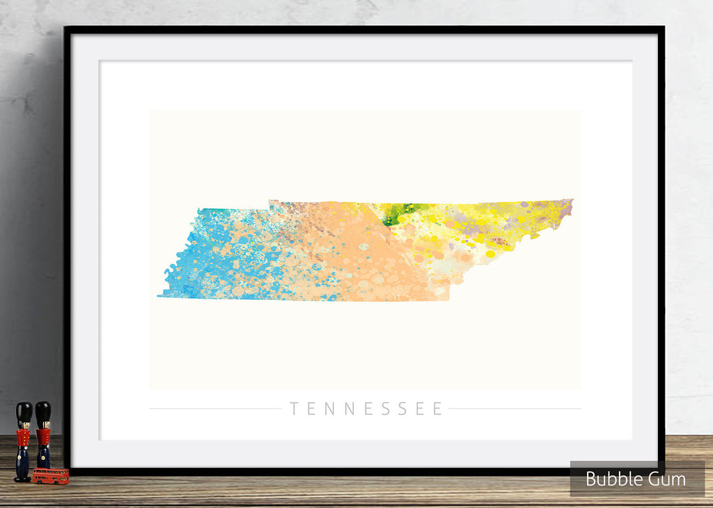 Tennessee Map: State Map of Tennessee - Nature Series Art Print