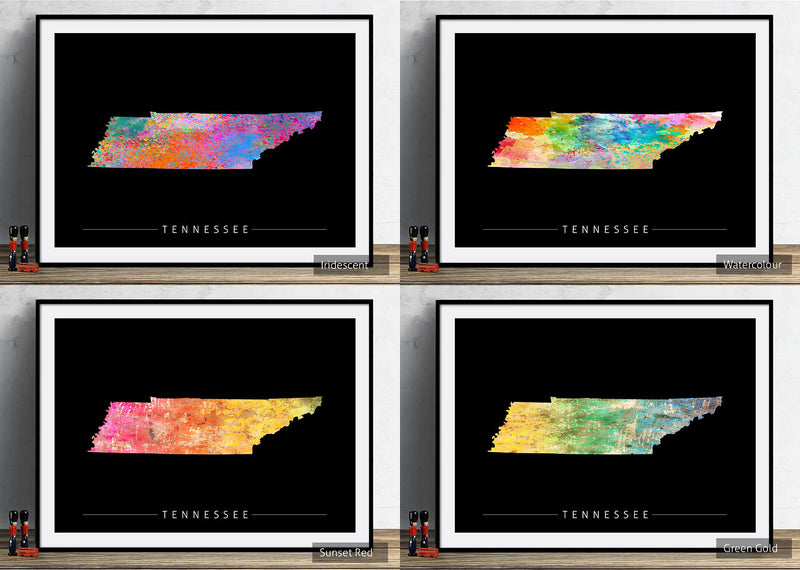 Tennessee Map: State Map of Tennessee - Sunset Series Art Print