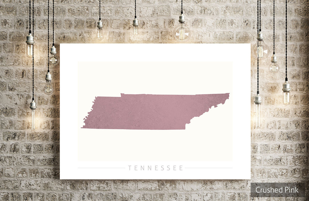 Tennessee Map: State Map of Tennessee - Colour Series Art Print