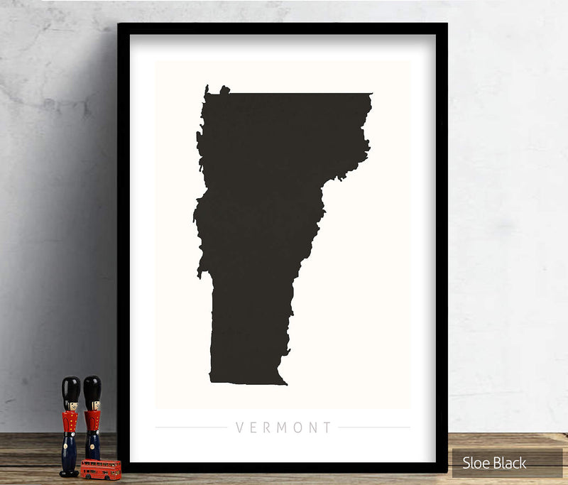 Vermont Map: State Map of Vermont - Colour Series Art Print
