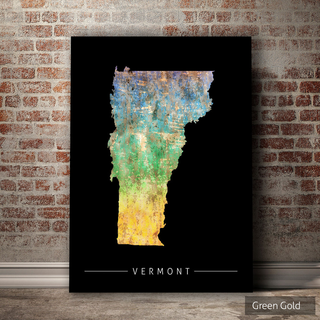 Vermont Map: State Map of Vermont - Sunset Series Art Print