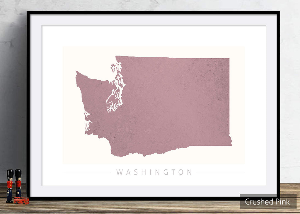 Washington Map: State Map of Washington DC - Colour Series Art Print