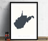 West Virginia Map: State Map of West Virginia - Colour Series Art Print