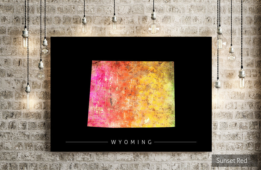Wyoming Map: State Map of Wyoming - Sunset Series Art Print