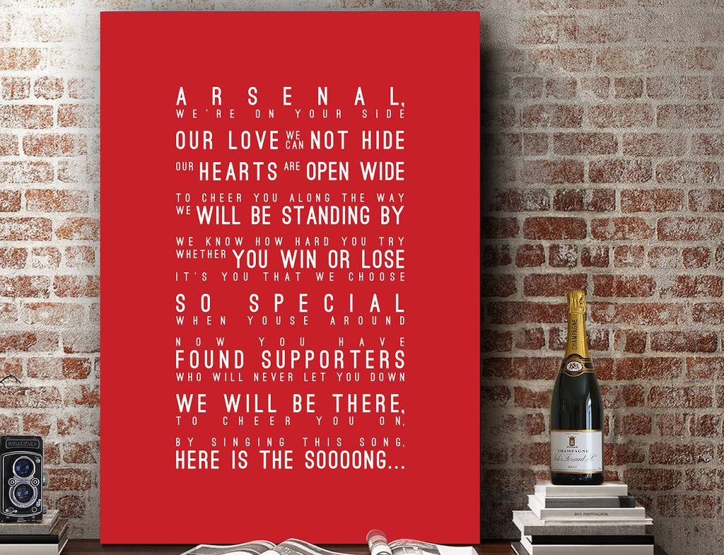 Arsenal, Arsenal FC Inspired Lyrics Football Anthems Print