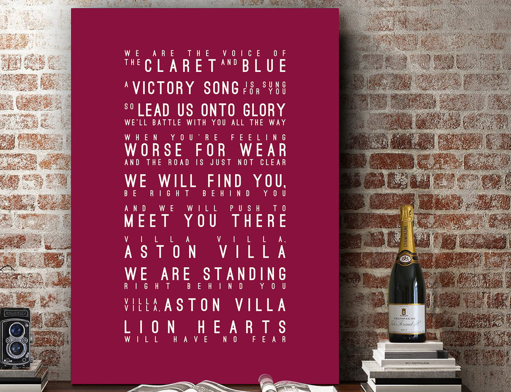 Villa Villa Aston Villa, Aston Villa FC Inspired Lyrics Football Anthems Print