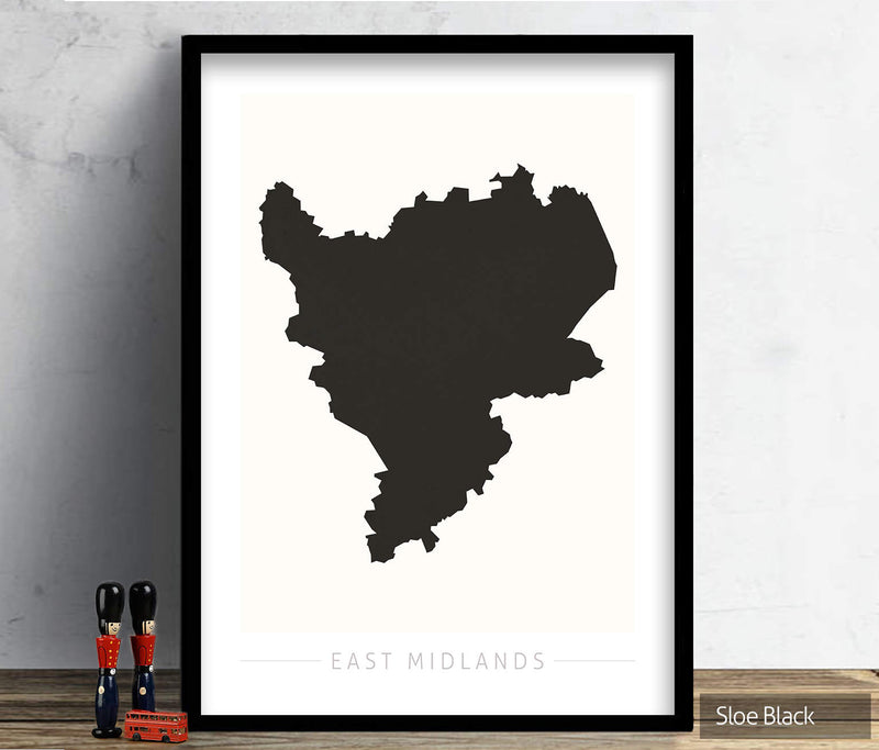 East Midlands Map: County Map of East Midlands - Colour Series Art Print