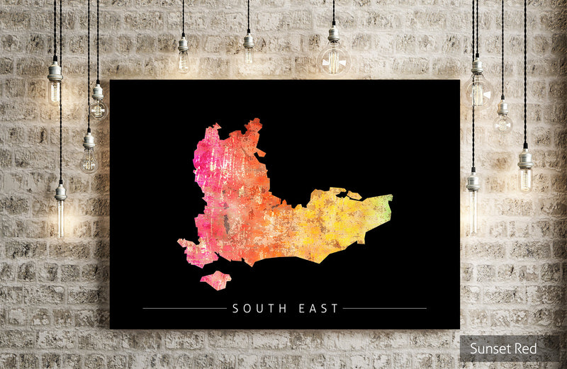 South East Map: County Map of South East England - Sunset Series Art Print