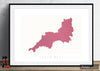 South West Map: County Map of South West England - Colour Series Art Print