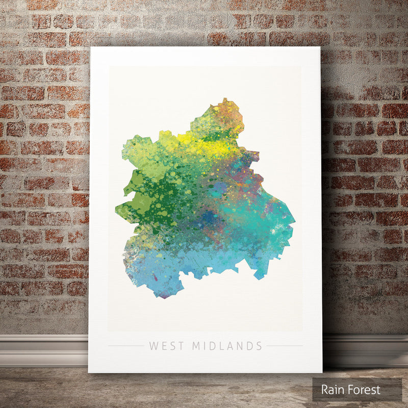 West Midlands Map: County Map of West Midlands, England - Nature Series Art Print
