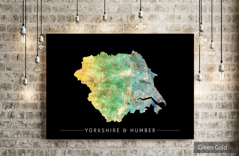 Yorkshire & Humber Map: County Map of Yorkshire Humber, England - Sunset Series Art Print