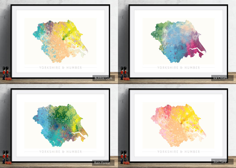 Yorkshire & Humber Map: County Map of Yorkshire and Humber - Nature Series Art Print