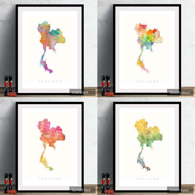 Thailand Map: Country Map of Thailand - Sunset Series Art Print