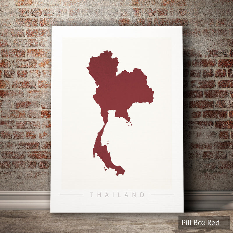 Thailand Map: Country Map of Thailand - Colour Series Art Print