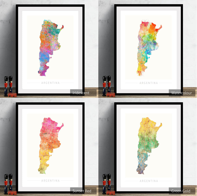 Argentina Map: Country Map of Argentina - Sunset Series Art Print