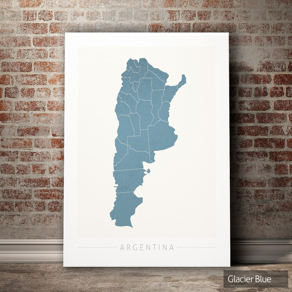 Argentina Map: Country Map of Argentina - Colour Series Art Print
