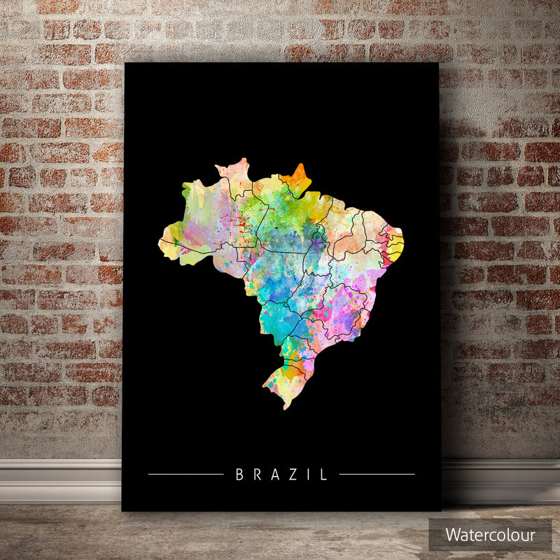 Brazil Map: Country Map of Brazil - Sunset Series Art Print