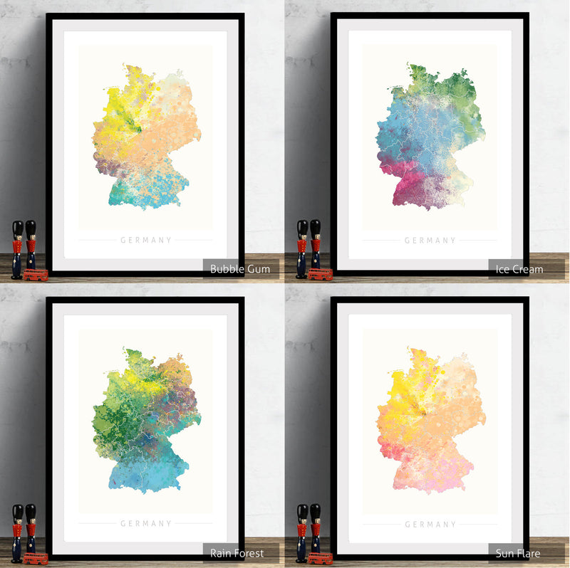 Germany Map: Country Map of Germany  - Nature Series Art Print