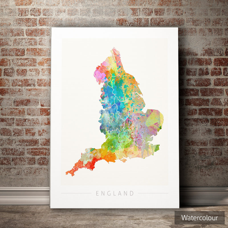 England Map: Country Map of England - Sunset Series Art Print