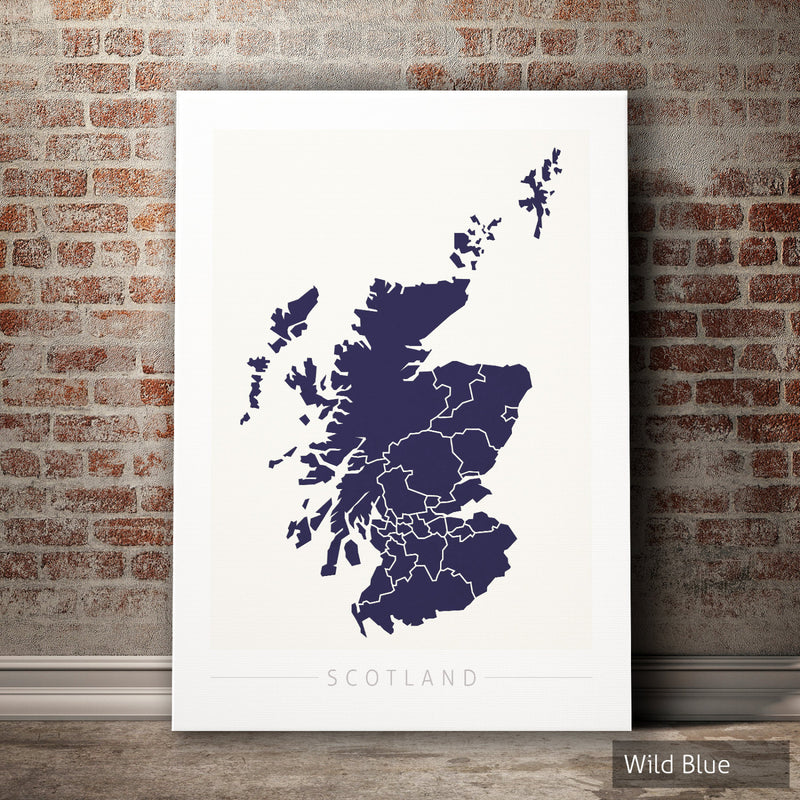 Scotland Map: Country Map of Scotland - Colour Series Art Print