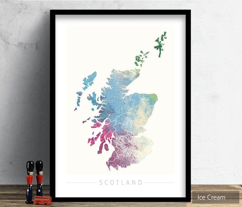 Scotland Map: Country Map of Scotland  - Nature Series Art Print