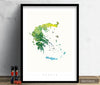 Greece Map: Country Map of Greece  - Nature Series Art Print