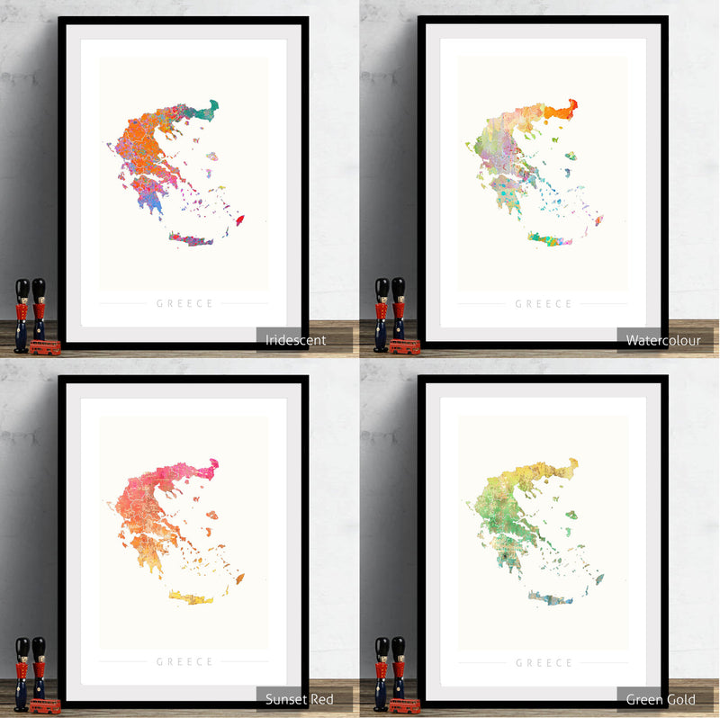 Greece Map: Country Map of Greece - Sunset Series Art Print