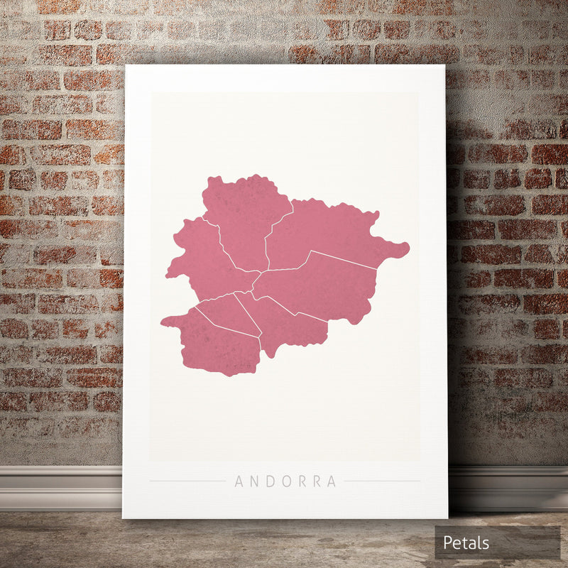 Andorra Map: Country Map of Andorra - Colour Series Art Print