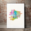 Andorra  Map: Country Map of Andorra - Sunset Series Art Print