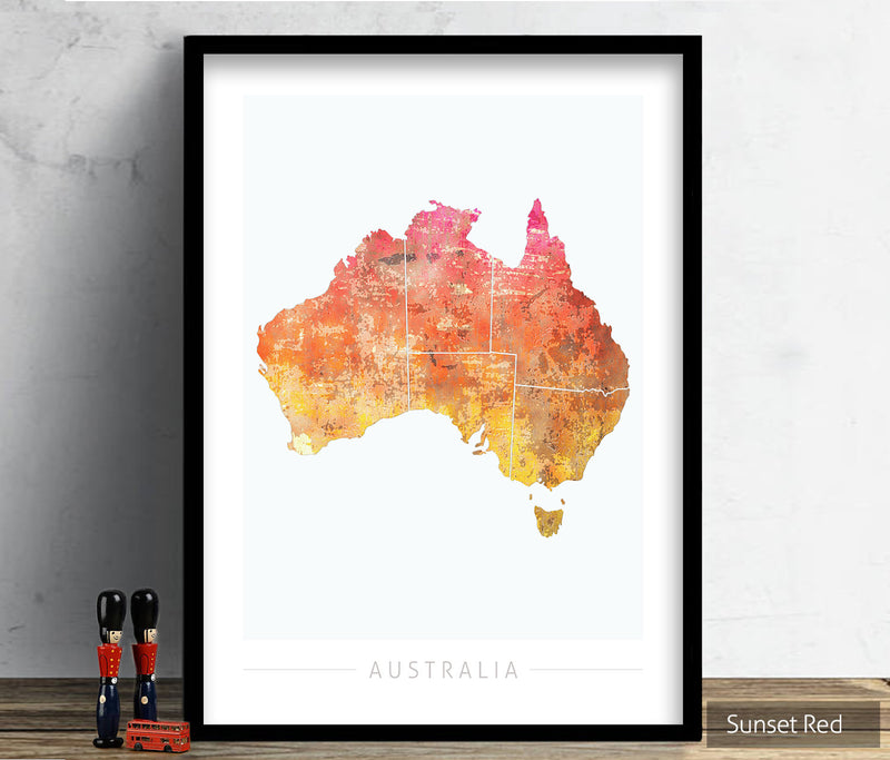 Australia Map: Country Map of Australia - Sunset Series Art Print