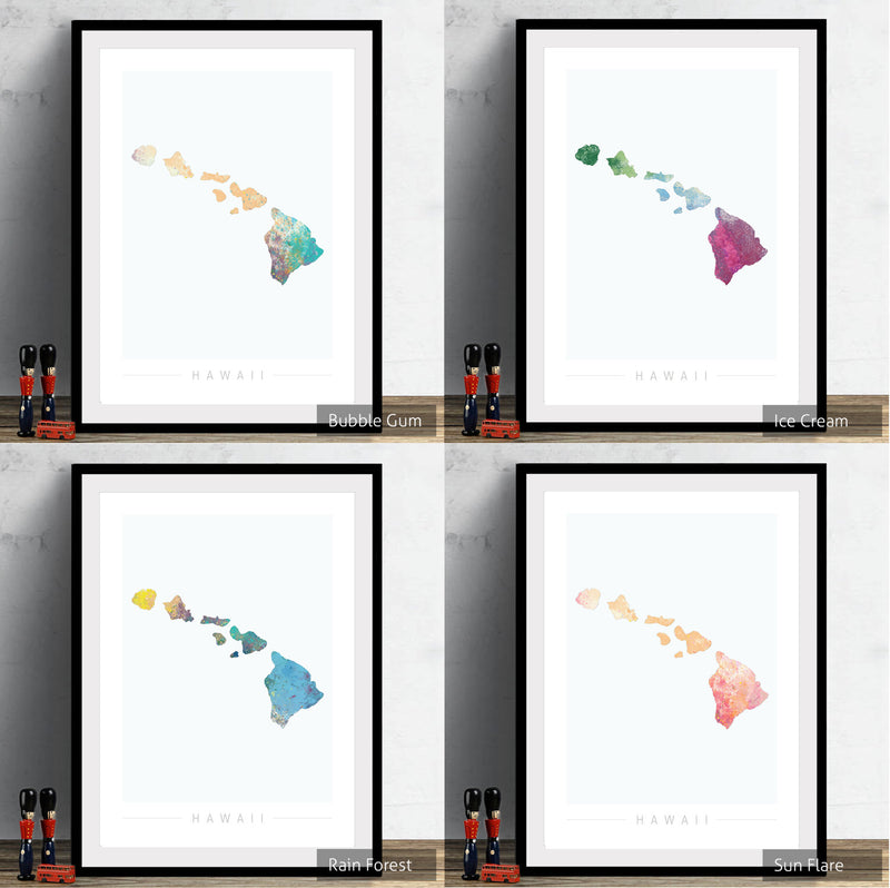 Hawaii Map: Island Map of Hawaii USA  - Nature Series Art Print