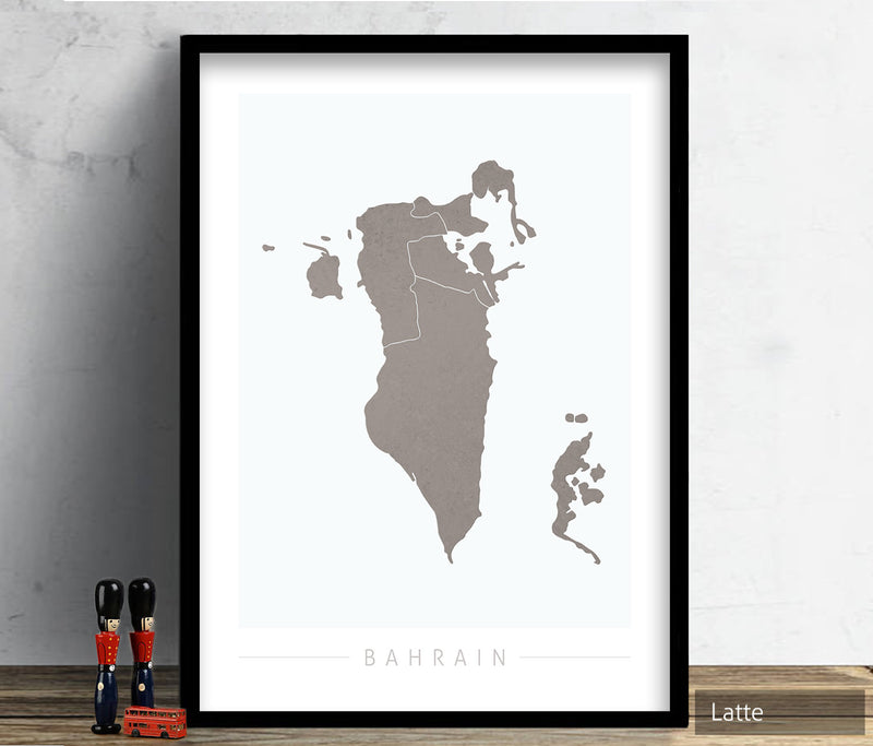 Bahrain Map: Country Map of Bahrain - Colour Series Art Print