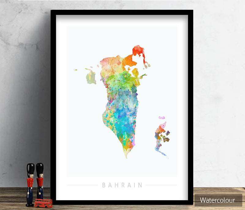 Bahrain Map: Country Map of Bahrain - Sunset Series Art Print
