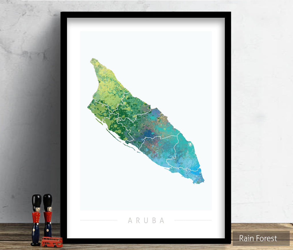 Aruba Map: Country Map of Aruba  - Nature Series Art Print