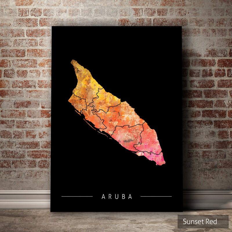Aruba Map: Country Map of Aruba - Sunset Series Art Print