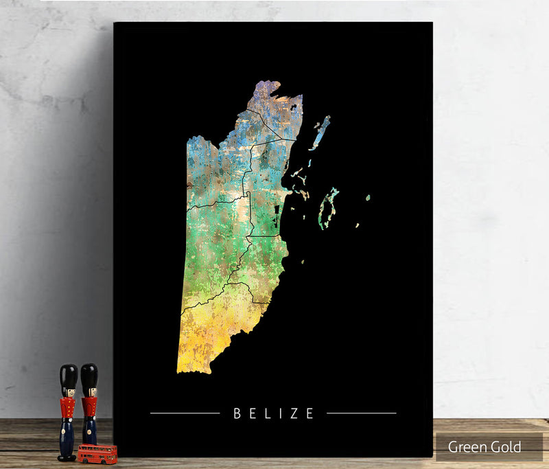 Belize Map: Country Map of Belize - Sunset Series Art Print