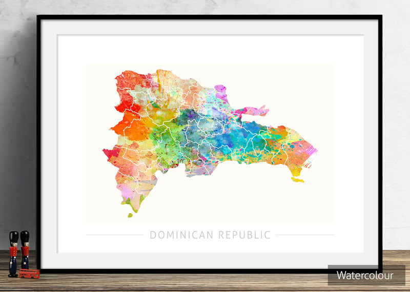 Dominican Republic Map: Country Map: Sunset Series Art Print
