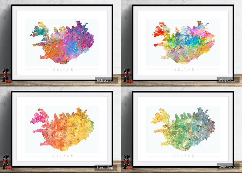 Iceland Map: Country Map of Iceland - Sunset Series Art Print