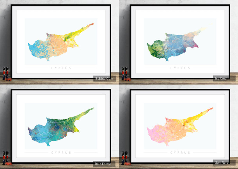 Cyprus Map: Country Map of Cyprus  - Nature Series Art Print