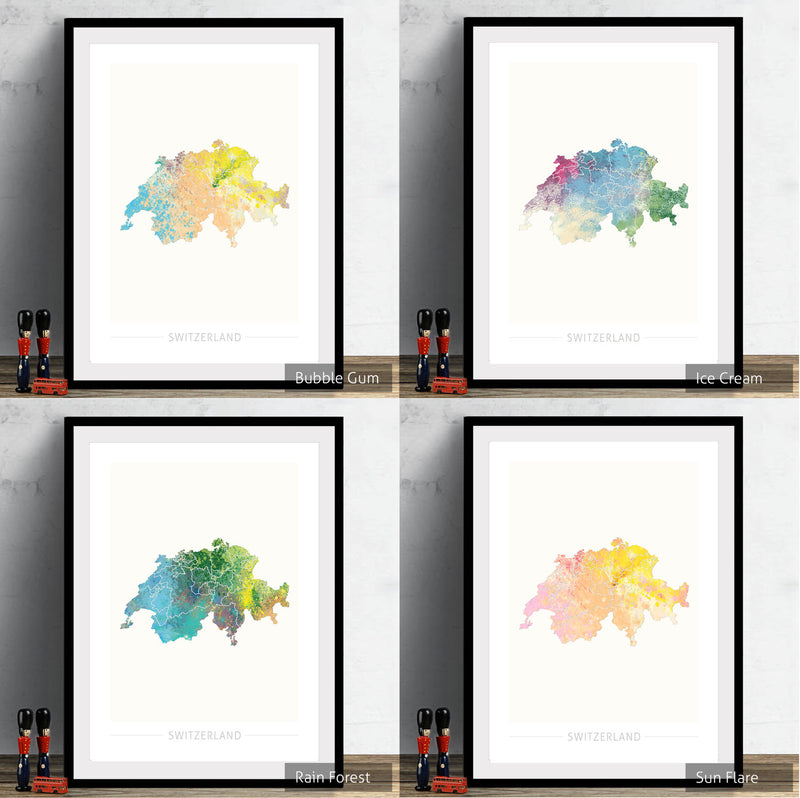 Switzerland Map: Country Map of Switzerland  - Nature Series Art Print