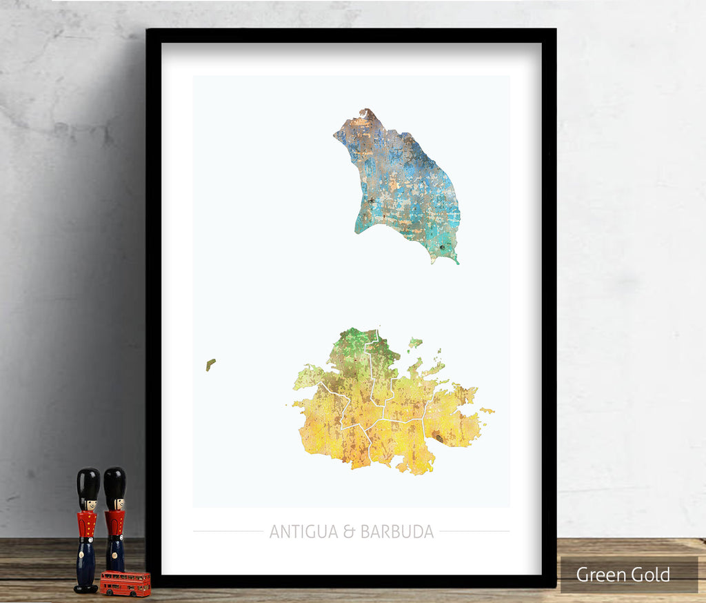 Antigua and Barbuda Map: Country Map - Sunset Series Art Print