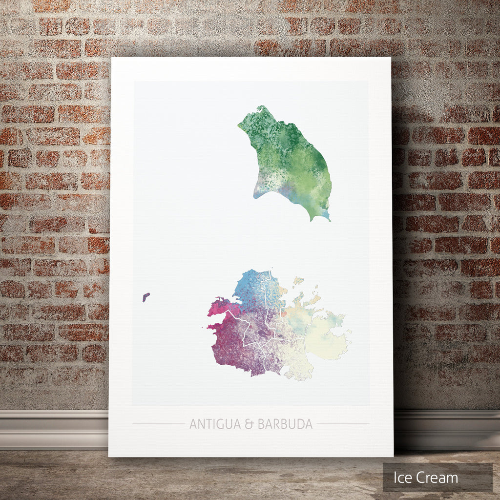 Antigua and Barbuda Map: Country Map  - Nature Series Art Print