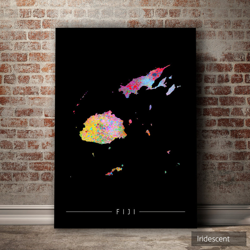 Fiji Map: Country Map of Fiji - Sunset Series Art Print