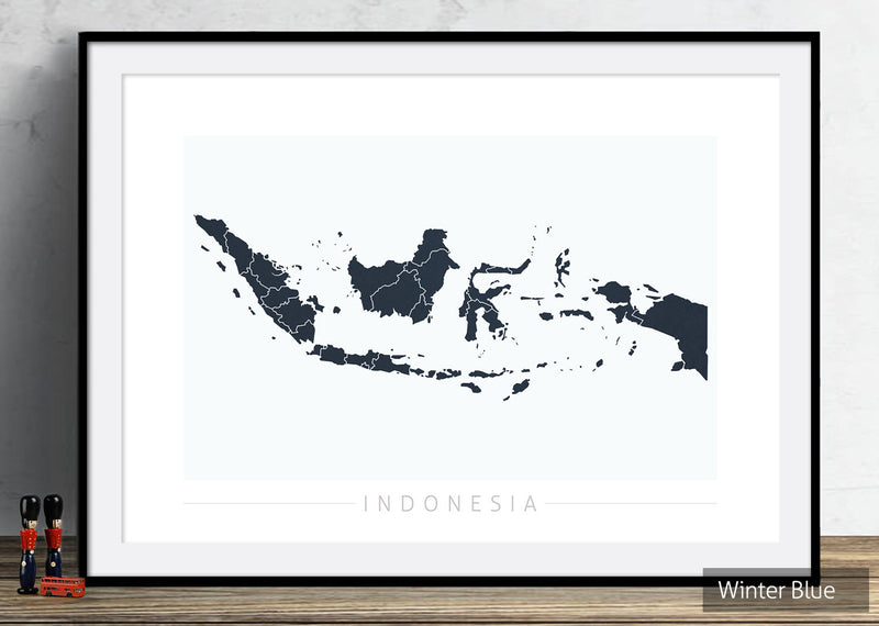 Indonesia Map: Country Map of Indonesia - Colour Series Art Print
